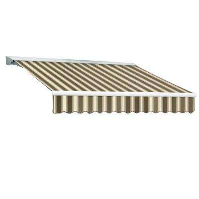 12 ft. DESTIN EX Model Right Motor Retractable with Hood Awning (120 in. Projection) in Brown and Tan Multi Stripe