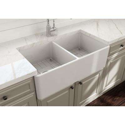 Classico Farmhouse Apron Front Fireclay 33 in. Double Bowl Kitchen Sink with  Bottom Grid and Strainer in White