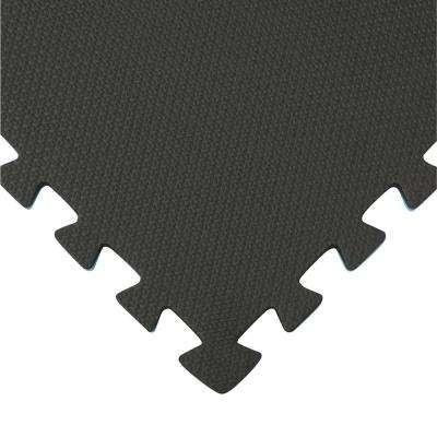 Reversible Multi-Purpose 24 in. x 24 in. Interlocking Blue/Gray Foam Flooring Recyclamat (4-Pieces)