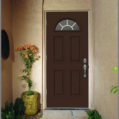 30 in. x 80 in. Fan Lite Dark Chocolate Painted Steel Prehung Right-Hand Outswing Front Door w/Brickmould
