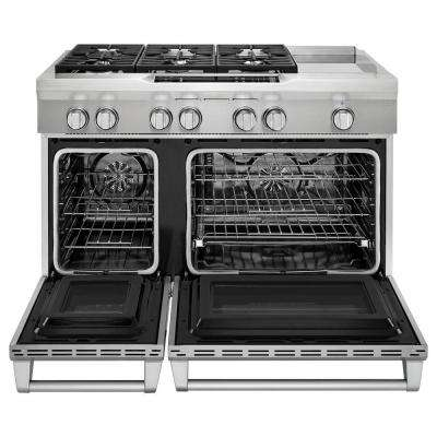 6.3 cu. ft. Commercial-Style Slide-In Double Oven Dual Fuel Range, Self-Clean Convection Oven in Stainless Steel