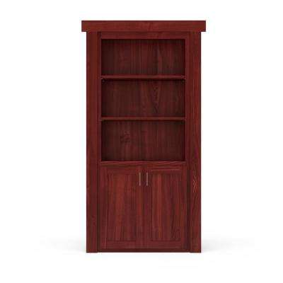 32 in. x 80 in. Flush Mount Assembled Laundry Door Cherry Stained Right-Hand Outswing