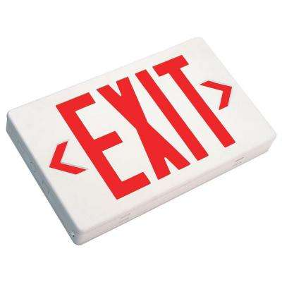 White V-O Flame-Retardant Thermoplastic LED Emergency Exit Sign, Self Contained, Fully Automatic, with Red Lettering