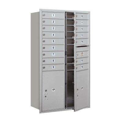 55 in. 15 Door High Unit Aluminum Private Front Loading 4C Horizontal Mailbox with 16 MB1 Doors/2 PL6's