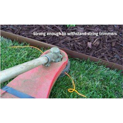 60 ft. L x 2 in. W x 3 in. H Light Brown Tall Resin Innovative Edge No Dig Edging with 9 in. Poly Stakes (30-Quantity)