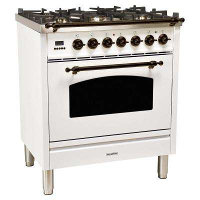 30 in. 3.0 cu. ft. Single Oven Dual Fuel Italian Range with True Convection, 5 Burners, Bronze Trim in White