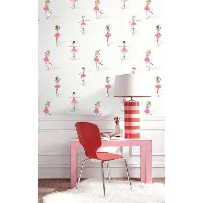 Tiny Dancers Pink and White Peel and Stick Wallpaper