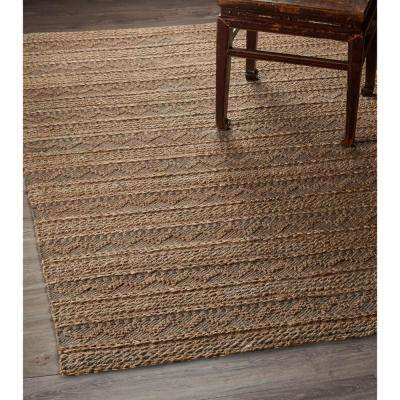 Vintage Natural Fiber Gray 8 ft. x 10 ft. Chevron Stripe  Looped Braid Indoor Area Rug