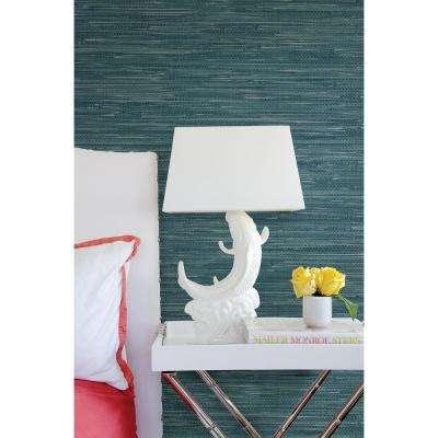 Natalie Teal Faux Grasscloth Wallpaper Sample