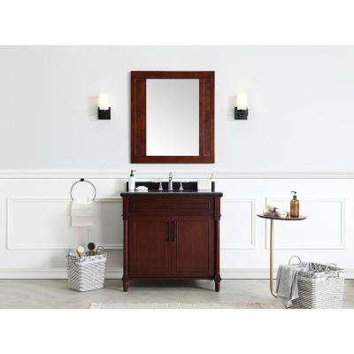 Aberdeen 36 in. W x 22 in. D Bath Vanity in Dark Cherry with Granite Top in Black with White Sink