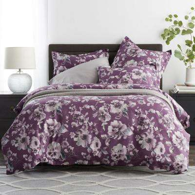 Misty Floral 300-Thread Count Sateen Duvet Cover