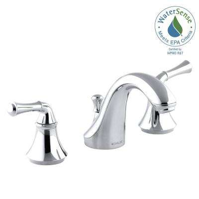Forte 8 in. Widespread 2-Handle Low-Arc Water-Saving Bathroom Faucet in Polished Chrome with Traditional Lever Handles