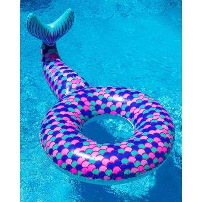 Giant Vinyl Funny Inflatable Mermaid Tail Summer Pool or Beach Toy Pool Float Includes Patch Kit