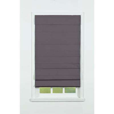 Gray Insulating Cordless Cotton Roman Shade - 65 in. W x 72 in. L