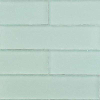 Ocean Aqua Beached 9 Loose Pieces 2 in. x 8 in. x 8 mm Frosted Glass Subway Tile