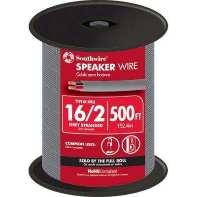 (By-the-Foot) 16-2 Gray Solid CU In-Wall Speaker Wire