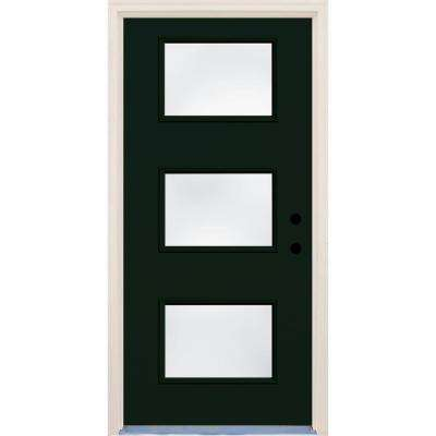 36 in. x 80 in. Fairway 3 Lite Clear Glass Painted Fiberglass Prehung Front Door with Brickmould