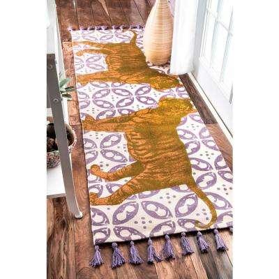 Thomas Paul Flat Weave Cotton Tiger Multi 3 ft. x 8 ft. Runner Rug
