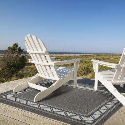 Nantucket Milas Granite/Ekru/Cobalt 8 ft. x 10 ft. Rectangle Indoor/Outdoor Area Rug