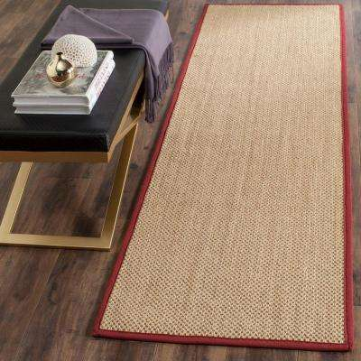 Natural Fiber Maize/Burgundy 2 ft. 6 in. x 8 ft. Runner Rug