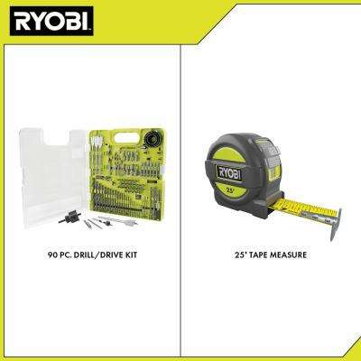 Multi-Material Drill and Drive Kit (90-Piece) with BONUS 25FT Tape Measure