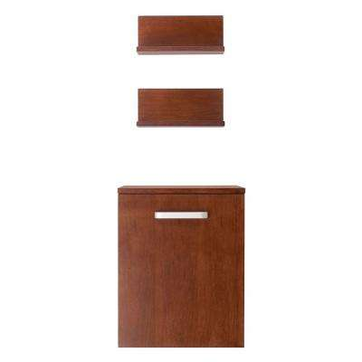 Rayne 15.75 in. W Wall Hung Storage Cabinet and two Wall Mounted Shelves in Dark Cherry