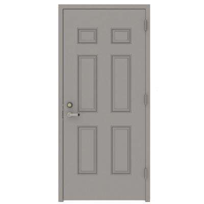 Gray 6-Panel Security Steel Prehung Commercial Door with Welded Frame