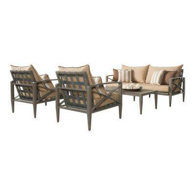 Knoxville Taupe 4-Piece Aluminum Patio Seating Set with Maxim Beige Cushions