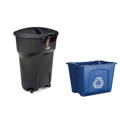 Roughneck 32 Gal. Black Wheeled Trash Can with 14 Gal. Recycling Bin