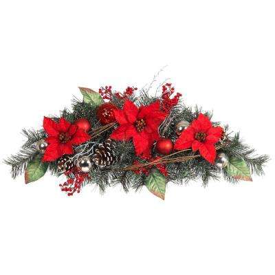 32 in. Red Poinsettia Pine Swag with Red and Silver Balls