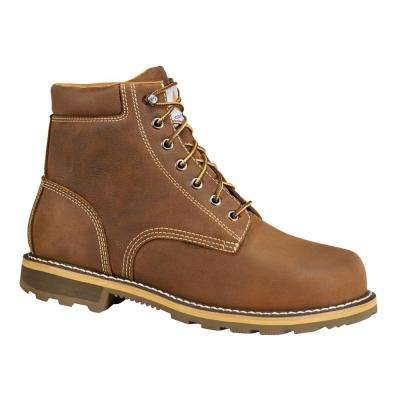 Traditional Men's Brown Leather Moc Toe Lug Bottom Waterproof Soft Toe Lace-up Work Boot
