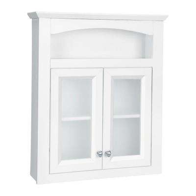Modular 24-3/5 in. W x 29 in. H x 6-9/10 in. D Bathroom Storage Wall Cabinet with Frosted Glass in White