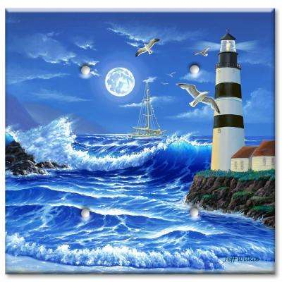 Lighthouse at Night 2 Blank Wall Plate