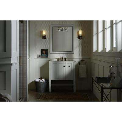 Tresham 30 in. W Vanity in Linen White with Vitreous China Vanity Top in White with White Impressions Basin