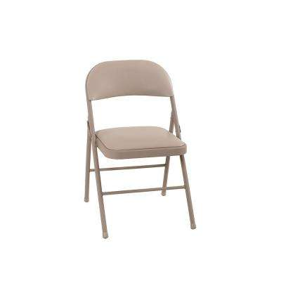 Vinyl Seat and Back Folding Chairs in Antique Linen (4-Pack)