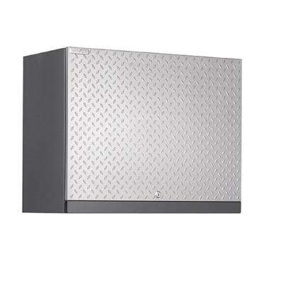 Performance Plus Diamond Plate 22 in. H x 28 in. W x 14 in. D Steel Wall Garage Cabinet in Silver