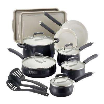 Paula Deen Savannah 17-Piece Black Cookware Set with Lids