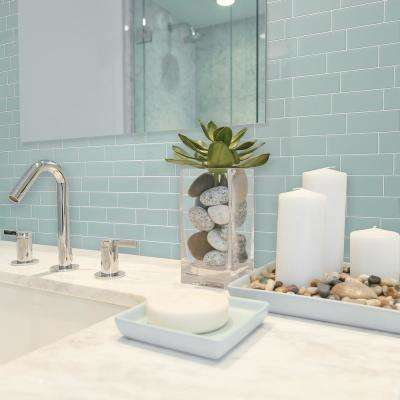 Metro Mia 11.56 in W x 8.38 in H Seafoam Peel and Stick Self-Adhesive Mosaic Wall Tile Backsplash (4-Pack)