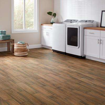 Baker Wood 6 in. x 24 in. Walnut Glazed Porcelain Floor and Wall Tile (14.55 sq. ft./Case)