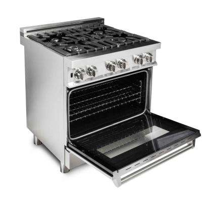 Zline Professional 30 in. 4.0 cu. ft. Gas Range with 4 Gas Burners and Electric Convection Oven in Stainless Steel