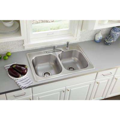 Swift Install All-in-One Drop-In Stainless Steel 33 in. 4-Hole Double Bowl Kitchen Sink Kit