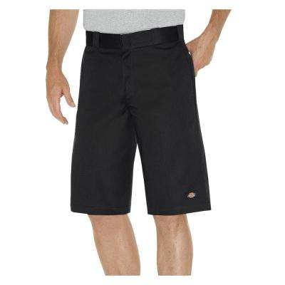 Men 13 in. Relaxed Fit Black Multi-Pocket Work Short