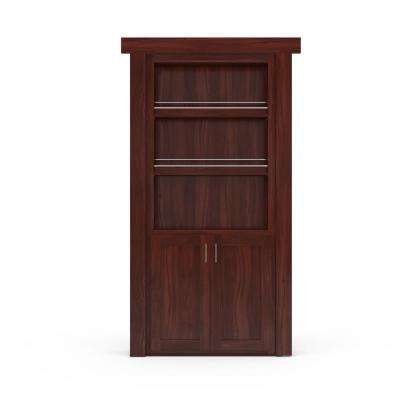 36 in. x 80 in. Flush Mount Assembled Forward Pantry Door Walnut Cherry Stained Right-Hand Inswing