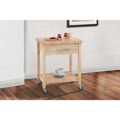 All Rubber Wood Kitchen Cart with 1 Drawer and 1 Bottom Shelf