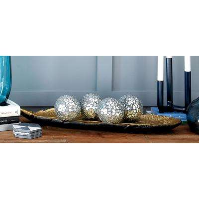 4 in. Dia Gray and Silver Glass and PVC Mosaic Decorative Balls (Set of 4)