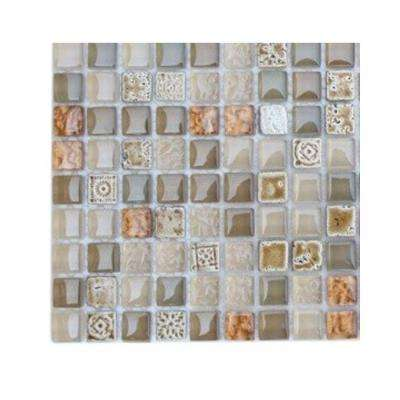 Aztec Art Flaxseed Glass Tile - 3 in. x 6 in. x 8 mm Tile Sample