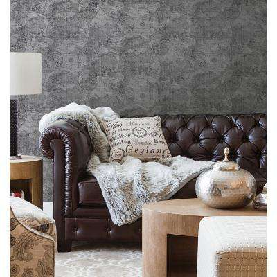 56.4 sq. ft. Cartography Pewter Vintage World Map Wallpaper