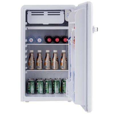 3.2 cu ft. Mini Fridges Retro Compact Refrigerator with Freezer Interior Shelves Handle in White