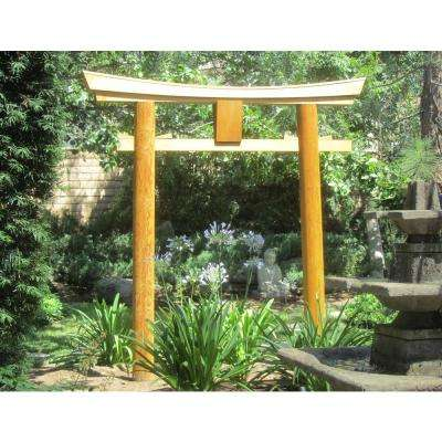 Japanese Shinto Temple Myojin Style Wooden Torii Gate, 8 ft. H x 94 in. W x 7 in. D, Pine