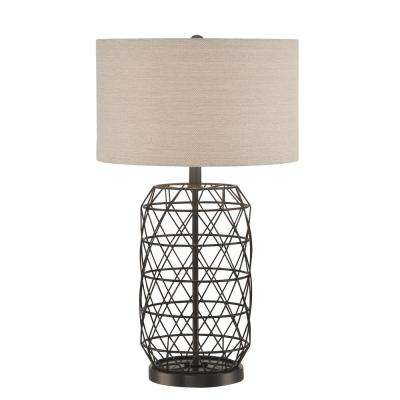 27 in. Black Table Lamp with Linen Fabric Shade